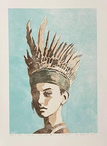 Bilde av Girl with feathers on her head (blå variant) av Ida Løkken