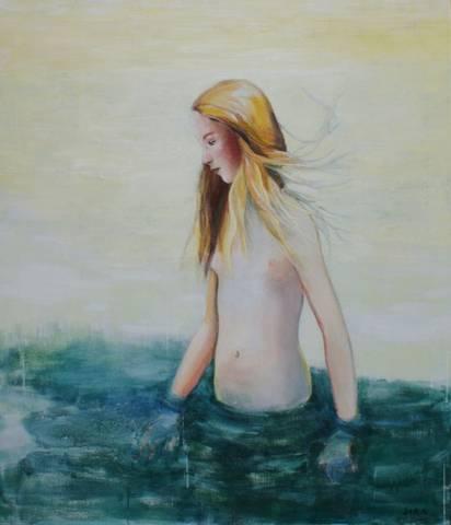 Bilde av Girl, Wind, Water - maleri av June Sira