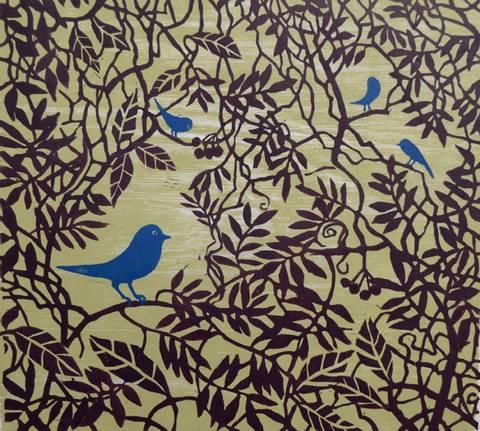 Bilde av Blåfugler av Gunhild Vegge m/ramme